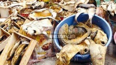 صورة الصحة: ضبط وإعدام 53 طن أغذية متنوعة وأسماك مملحة ومدخنة.. و6 آلاف لتر عصائر ومياه معبأة فاسدة بمحافظات