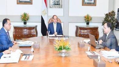 صورة السيسي يجتمع برئيس مجلس الوزراء، ووزير المالية