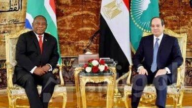 """صورة """" السيسي """" يبحث مع """" رامافوزا """" تطورات ملف سد النهضة و آخر مستجدات القضية الليبية"""