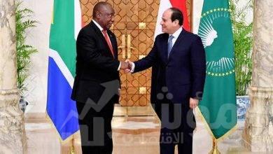 """صورة """" السيسي """"  مع رئيس جنوب أفريقيا تطورات الموقف الحالي لملف سد النهضة"""