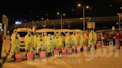 """صورة الهلال الأحمر يعقم محطة مصر تحت رعاية"""" القباج""""  وبالتنسيق مع وزارة النقل"""