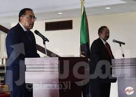 صورة مؤتمر صحفي مشترك لرئيسى وزراء مصر والسودان بالخرطوم عقب جلسة المباحثات