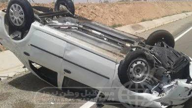 صورة إصابة 5 أشخاص إثر انقلاب سيارة ملاكي في البحيرة