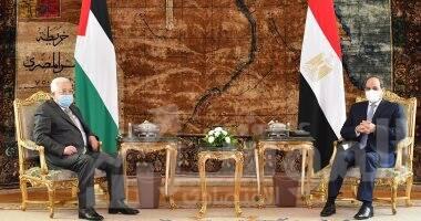 صورة السيسي يستقبل  الرئيس الفلسطيني محمود عباس بقصر الاتحادية