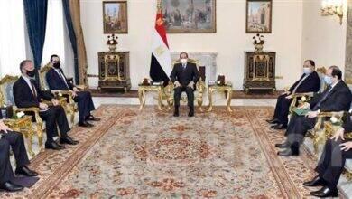 """صورة """" السيسي """" يستقبل وزير الخزانة الأمريكي بحضور وزير المالية و رئيس المخابرات العامة"""