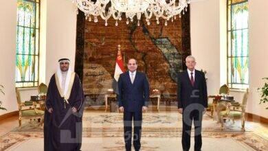 """صورة """" السيسي """" يناقش مع """" العسومي """"  تعزيز دور البرلمان العربي من اجل الحوار والديمقراطية"""