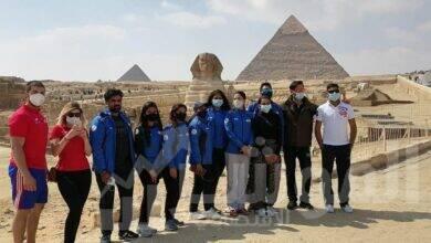 صورة جولة سياحية بالأهرامات لبعثتي التشيك والهند على هامش كأس العالم للرماية
