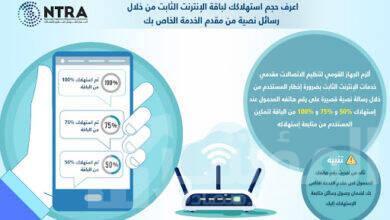 صورة الجهاز القومي لتنظيم الاتصالات يلزم الشركات مقدمي خدمات الانترنت الثابت بإعلام المشتركين بحجم استهلاكهم