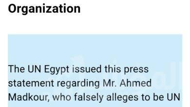 صورة الأمم المتحدة في مصر : أحمد مدكور لا يمثلنابأي صفة