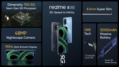 صورة ريلمي تُطلقrealme 8 5 أولى هواتفها الذكية بتكنولوجيا اتصالات الجيل الخامس5Gفي مصر