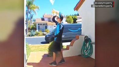 صورة شاهد.. رجل توصيل بأمازون يرمي طردا بريديا على سطح منزل