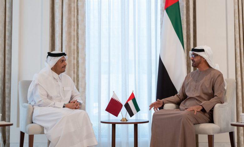 محمد-بن-زايد-يستقبل-وزير-خارجية-قطر