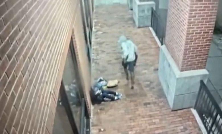 كاميرا-مراقبة-ترصد-رجلًا-يعتدي-بوحشية-على-وجه-ورأس-امرأة-مسنة-ويلوذ-بالفرار