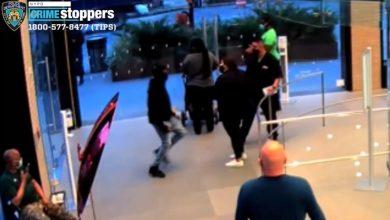 صورة كاميرا مراقبة تُظهر رجلا يطعن حارس أمن ويلكم موظفة ويصفع آخر بمتجر آبل