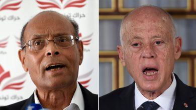 """صورة قيس سعيد: سيتم سحب جواز السفر الدبلوماسي من """"عدو تونس"""" منصف المرزوقي"""