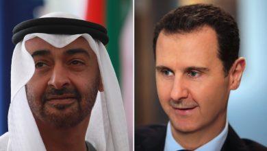 صورة محمد بن زايد يتلقى اتصالا هاتفيًا من بشار الأسد.. ماذا دار بينهما؟